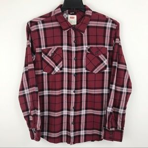 Levis Red White Flannel Plaid Shirt XL Extra Large